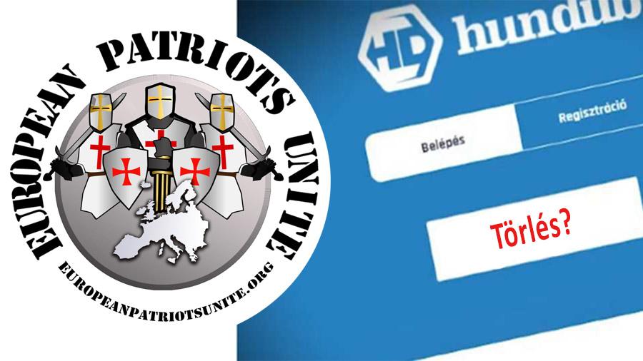 A Hundub törölte a European Patriots Unite Egyesület oldalát